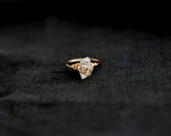 Herkimer Diamond ring Herkimer ring Engagement Under 60 April birthstone gold herkimer jewelry