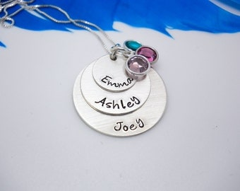 Mom necklace with kids names, custom family necklace, Personalized mothers necklace, Handstamped custom jewelry, Mothers Day gift for mom