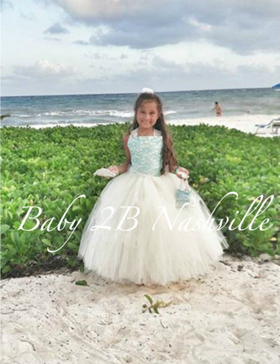 Lace flower girl dress beach wedding tulle flower girl dress for Beach wedding flower girl dresses