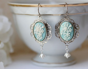 Blue Cameo Earrings Vintage Cameo Earrings Victorian Jewelry