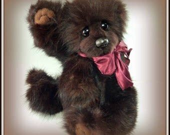 Kindling - On Sale, Mink Teddy Bear, Handmade, Recycled Mink, 8 inch