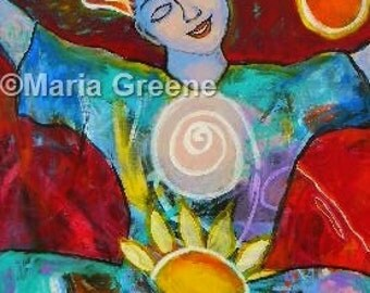 JOY original acrylic painting by Maria Greene, spiritual art 24x36""