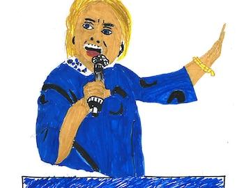 Hilary Clinton canvas transfer painting