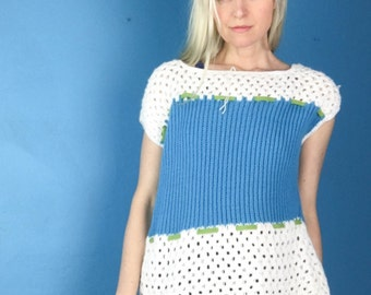 "Wonderful ""Mr Thompson"" vintage 60s UNWORN M/L/XL open knit pullover sweater top stripe + ribbon blue white acrylic"