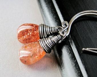 Sunstone   Earrings  Oxidized  Silver Fall Colors Rust Gemstone Jewelry Stone Jewelry Wire Wrapped Teardrop Earrings Orange African Sunstone