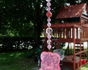 Pink Teddy Bear and Bead Suncatcher - OOAK
