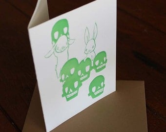 Card Print - Skull Collectors Art Letterpress Print Notecards with Envelope - Skull and Bunnies Blank Greeting Card - Rabbit Notecard