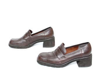 size 7.5 PLATFORM brown leather 80s 90s PENNY LOAFERS slip on boots