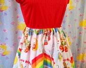 Rainbow Brite dress, fairy kei 80s cartoon pop kei size large L
