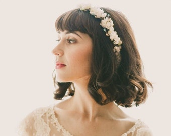 Cherry blossom flower crown, White floral wreath, Boho wedding headpiece, Flower bridal hair accessory, White floral, Boho crown for bride