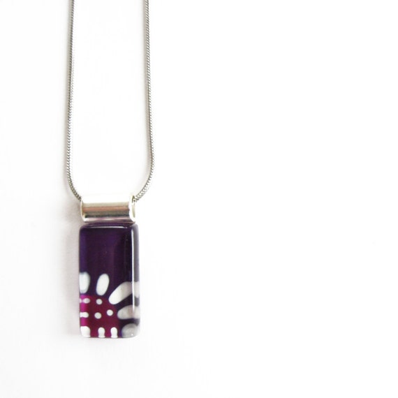 Purple flower glass necklace | on stainless steel chain | hand painted glass by azurine -