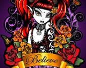 Terra Rose Believe Gothic Fairy Rose Tattoo Art 8x10 Signed PRINT Myka Jelina