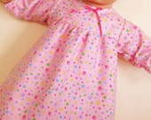 Bitty or Twin Doll Clothes - Pink Squiggles Nightgown