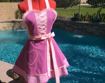 Princess Rapunzel inspired Sassy Apron,  Cosplay, Womens Misses and Plus Sizes, Girls Apron, Costume Party, Dress Up Disney Pricess, Tangled
