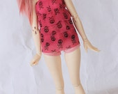 Minifee BJD clothes Pink skull ruffle dress set MonstroDesigns Ready to ship MDm7346