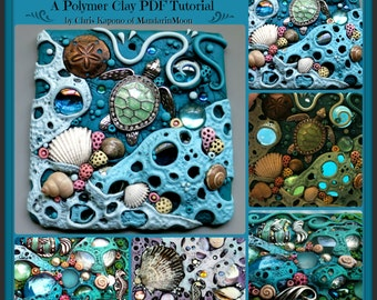 Tide Pool Sun Catcher Tile,  A Polymer Clay PDF Tutorial, Mosaic Tile
