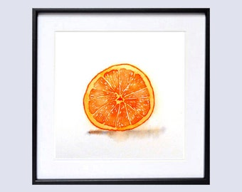 Kitchen decorating ideas, Fruit Art Print, Watercolor Painting, Still life color field orange ,Kitchen Art, Minimalist natural art , LaBerge