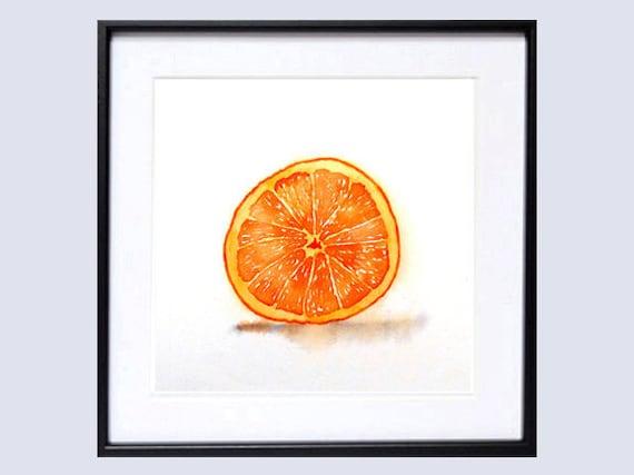 Citris Fruit Art PRINT Watercolor Painting / Botanical artwork / Still life color field orange / Kitchen decor / Minimalist natural art   K