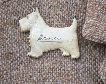 Antique dog brooch / Scottie Westie Cairn Scottish Terrier / Hand painted, pressed metal / Gracie Grace vintage name brooch, 2.5 inches