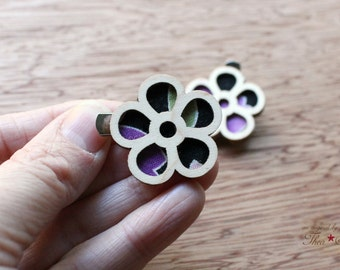 Mini Flower Hair Clips - Laser Cut Maple Wood and Vintage Kimono Clips