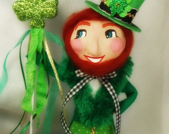 Leprechaun centerpiece Leprechaun tree topper St Patricks daydecor paper clay leprechaun  shamrock clover green gold white vintage retro