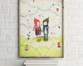 Winter love - Friend & Love - Holli - Nursery Wall Art - Nursery Decor - Childrens Art - Kids Wall Art - Nursery Art