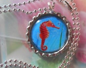 Colorful SEAHORSE Bottle Cap Picture Pendant  - paper, epoxy, metal pendant with a 24-inch silver-plated necklace chain