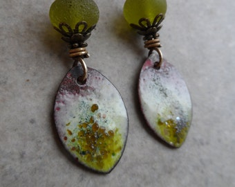 Gourmet Olives ... Artisan-Made Enameled Copper Charms, Lampwork and Brass Wire-Wrapped Rustic, Boho, Autumn, Fall Earrings