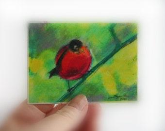 Red Robbin, aceo original, bird art, tiny art, miniature art, lime green art, green art, little gifts, nature lover gifts, #Aceo original