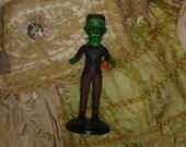 Frankenstein Tick or Treat Doll Altered Art Vintage Bisque Doll Repaint