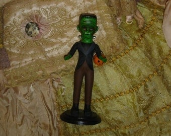 Frankenstein Tick or Treat Doll Altered Art Vintage Bisque Doll Repaint