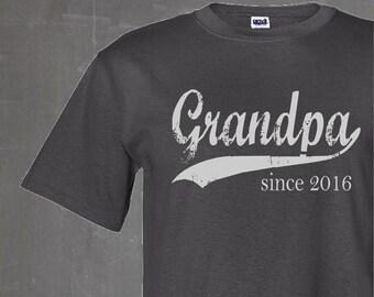 Grandpa since any year screenprinted tee, personalized grandfather gift, new grandpa tee, custom mens tshirt, father's day, husband gift