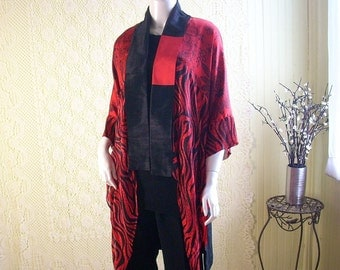 Patchwork Cardigan/ Kimono Jacket/Short Bohemian Jacket/Silky Red and Black Jacket by Brenda Abdullah