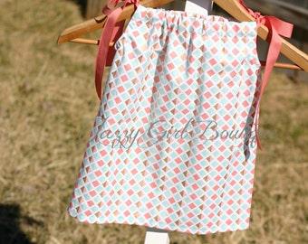 Girls Pillowcase Geo Diamond Rows with Rose Pink Ribbon Ties Sz 6mo, 12mo, 18mo, 2T, 3T, 4T, 5 Sz 6, 7, 8 Three Dollars More