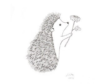 Hedgehog Illustration Ink Drawing Print Black & White Wall Art Woodland Nursery Wall Decor Love Illustration 5x7 Minimalist Home Decor MiKa