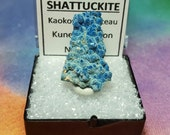Sale Rare SHATTUCKITE Natural Bright Blue Mineral Specimen In Perky Box From Namibia