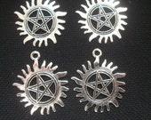 4 Pentagram Anti Possession Pendants 30mm silver tone metal