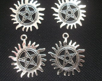 4 Pentagram Anti Possession Pendants 30mm silver tone metal