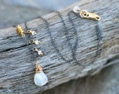 Rainbow Moonstone Pendant Necklace, 14KT Gold Filled and Oxidized Sterling Silver Necklace, Moonstone and Mixed Metal Ne