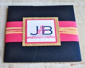 Pocket Fold Wedding Invitation Design Fee (Pink Floral Design with Japanese Cane Paper and Raffia)