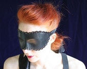 Black Leather Coquette Blindfold - Hand molded, Hand Punched Leather Mask with long Silk Ties - Ready to ship.