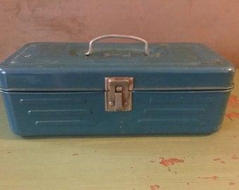 Vintage Blue Metal Tackle Box