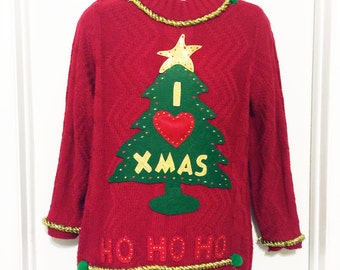 Ugly Christmas Sweater, Sweater, Christmas Sweater, Red Sweater, Ugly Sweater Party, Small, Item #1