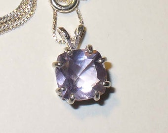 Color-Change Fluorite Pendant in Solid Sterling Silver - All-Natural Genuine Gemstone