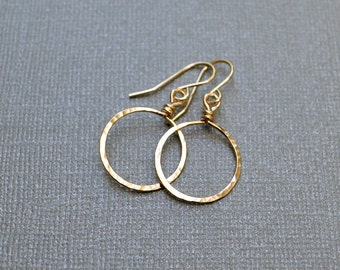 14KT Gold Fill Earrings - Dangle hoops, Modern, Simplicity, Gold, Hammered Hoop