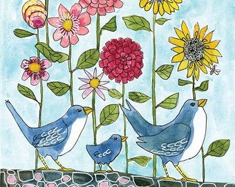 Floral Artwork, Something Blue, Happiness Three Little Birds Print, Colorful Wall Art, Signed Limited Edition Watercolor Flowers Drawing