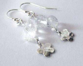 Rock Crystal Quartz Gemstone Earrings, Sterling Silver Flower Dangles