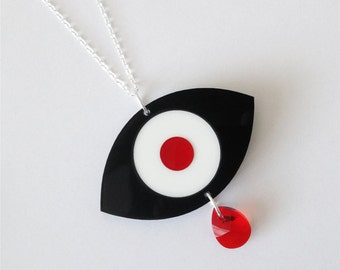 Eye Necklace (Black) with Red Crystal Teardrop - Laser Cut Acrylic Perspex on Sterling Silver Chain
