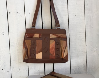 Vintage Leather Purse + Wallet Lambskin Patchwork  Brown - Like New Condition + Checkbook Cover
