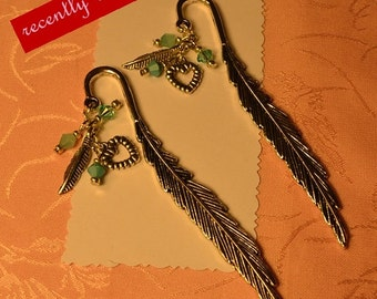 On Sale..  Recently reduced Turquoise, Feather,Crystals and Silver Feather Bookmark